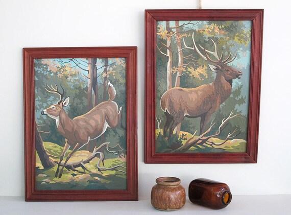 pair of vintage paint by number deer pictures