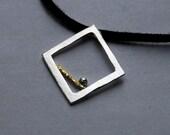 Single Square \/ Fine Silver and 22k Gold Pendant
