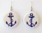 Navy Blue Boat Anchor Upcycled Bottle Cap Earrings