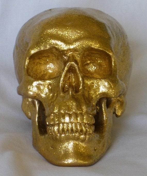 Handpainted Gold Glitter Alabastrite Skeleton Skull Gothic Pirate Treasure