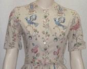Vintage 1950's Miss Jrs. Full Circle Skirt Dress Small Bluebird Blue Bird
