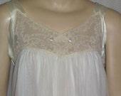 Vintage Leonora Nightgown Nightie Small Long Nylon Chiffon Ivory