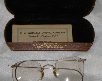 Vintage 1943 Retro Bausch Lomb 12k Karat Gold Filled Eye Glasses 1/10 With Case Eyeglasses C. C. Caldwell Optical