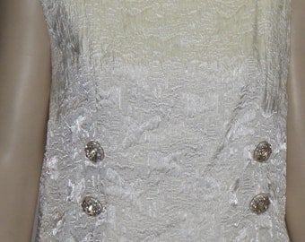 Vintage 1950's Silk Dress Rhinestone Lucite Buttons Large Ivory