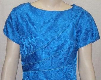 Vintage Royal Blue 1950's Wiggle Dress Size 18 Jacquard