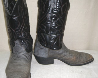 Vintage Leather Mens Cowboy Western Boots 8 EE Two Tone