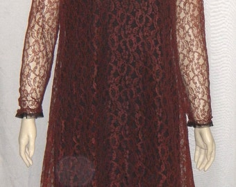 Vintage 1960's Retro Mod Dress Small Lace Overlay