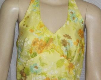 Vintage 1970's Yellow Halter Sundress Sun Dress Medium Size 10