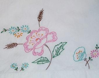 Vintage Pink Rose Floral Standard Pillowcase Embroidered Cottage