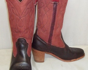 Vintage BOHO Leather Dexter Cowboy Boots Womens 7 1/2M