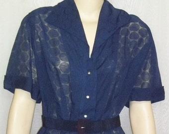 Vintage 1950s Navy Blue Sheer Career Church Dress Medium Large Rhinestone Buttons