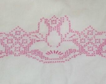 Vintage Pink Embroidered Floral Standard Size Pillowcase Crochet Cottage