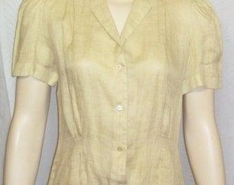 Vintage 1980's Condor Linen Secretary Tailored Blouse Shirt Top 9/10