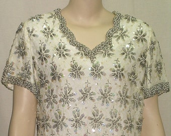 Vintage 1950's Glass Beaded Sheath Dress Medium/Large