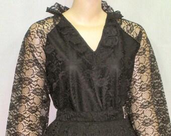 Vintage 1970's Lace Overlay Skirt Blouse Shirt 13/14 Formal Outfit Helen Joy Le Damor