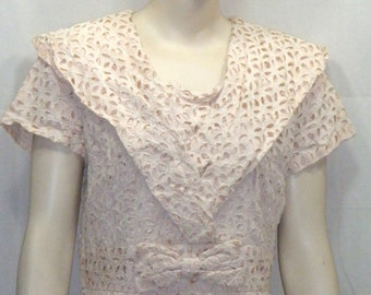 Vintage 1950's Cutout Cut Out Lace Overlay Dress Medium Large