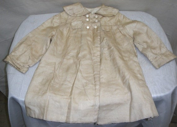 Vintage Edwardian Victorian Childs Coat Jacket Doll Silk Lined Baby Toddler Kids