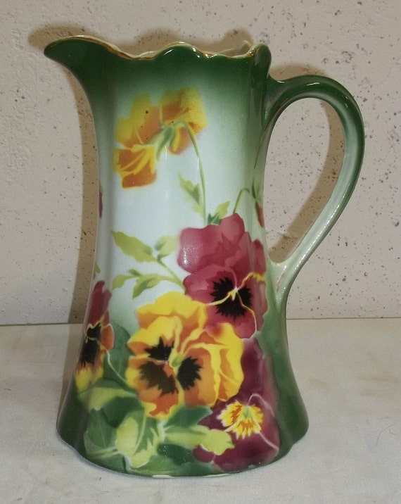 Antique Keller et Guerin Faience Majolica Pansy Pitcher French France Floral
