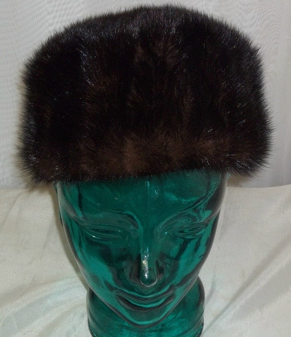 Vintage Mink Fur Gimbels Pillbox Hat Size 22