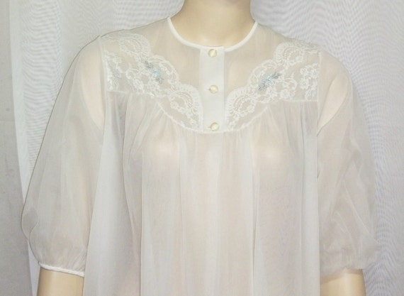 Vintage Shadowline Double Layer Chiffon Robe Peignoir Nylon Small
