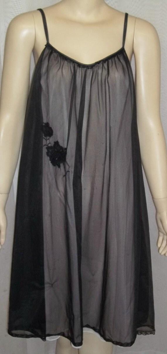 Vintage Babydoll Nightie Nightgown Medium Black Nylon Chiffon