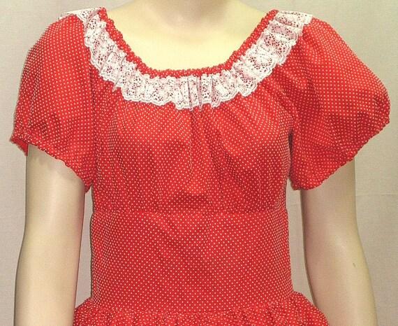 Vintage Lolita Square Dance Swiss Polka Dot Red Ruffles Ruffled Medium Squaredance Dress