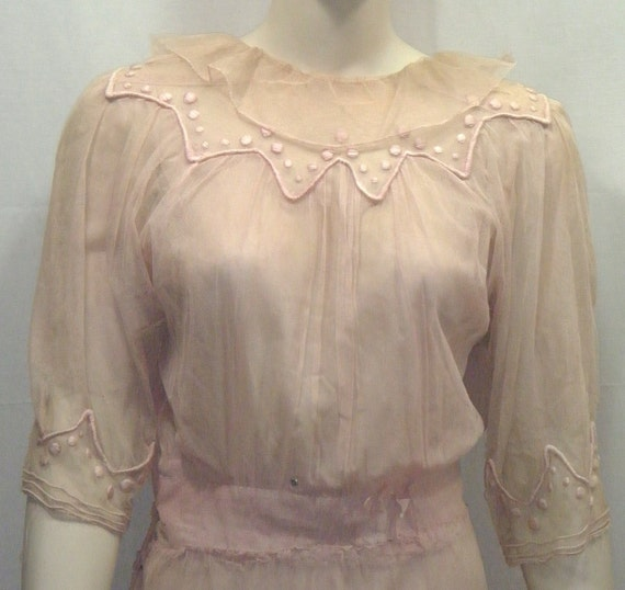 Vintage 1910's to 1920's Era Pink Net B. Siegel Detroit Dress Tiered Snaps Sheer Small