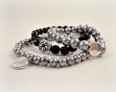 Beaded Stretch Bracelets, Set of 3, Stack Bracelets, Vintage Black Beads, Silver Glass Pearls, Charm Bracelet