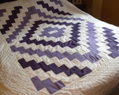 Reserved for Kathy - vintage quilt, Amish,  hand-made, mauve purple, bedding, great geometric design
