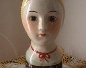 vintage head vase, wallhanging, ceramic, woman's face, vase, home decor, unique