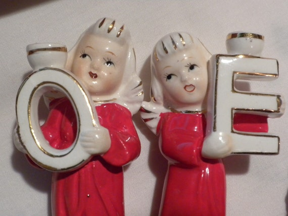 Vintage Christmas angel set, Japan, small candleholders