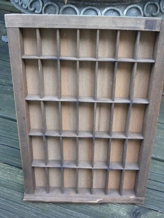 vintage printer drawer tray, display,  drawer turned wallhanging, curio cabinet, solid wood, organizer