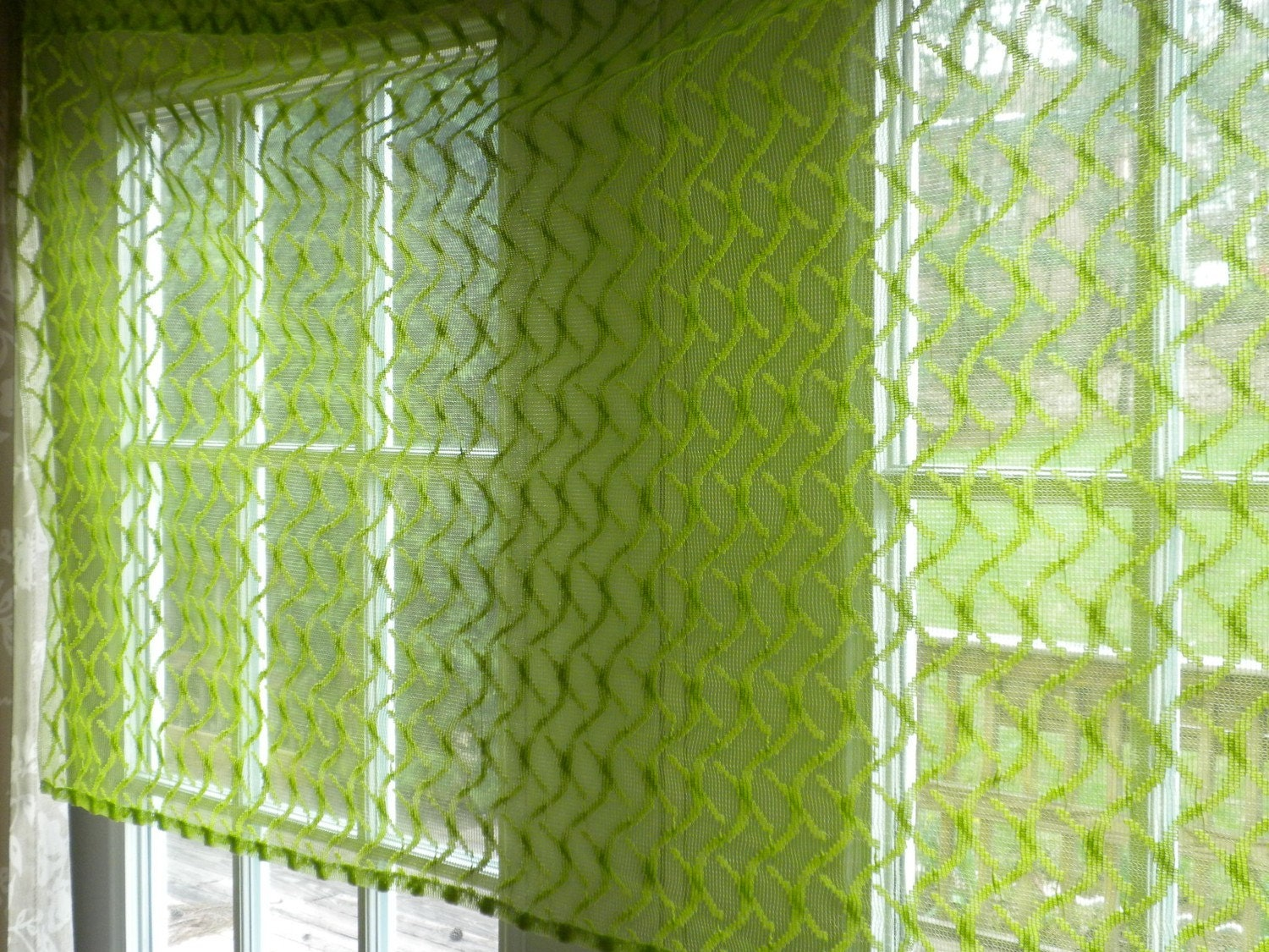 Vintage Valance Short Curtain Lime Green Lace