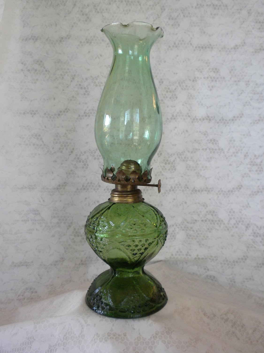Vintage Oil Lamp Olive Green Textured Glass Original