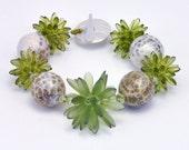 Beaded Beads Bracelet with Afghan Jade & Handmade SS Toggle, Green Spice