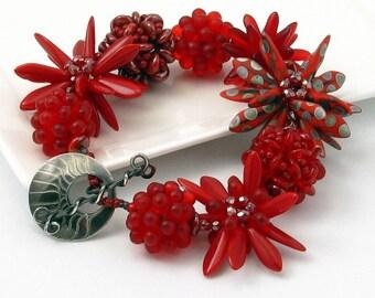Bracelet, Handmade Beaded Beads, Glorious Red