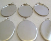 NEW... Small Bezel Pendant Settings (20mm x 15mm) - Silver (6)