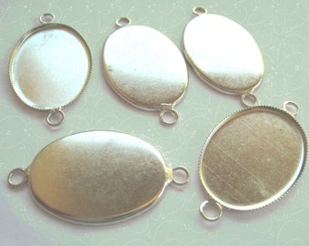 NEW... Double loop Silver Pendant Settings 25x18 mm (5)