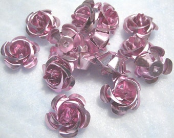 Aluminum Rose cabs - Small 12mm Pink (25)