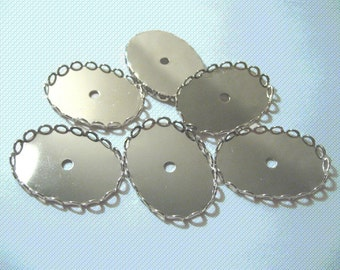 Bezel Lace Setting 25 x 18mm - Silver (4)