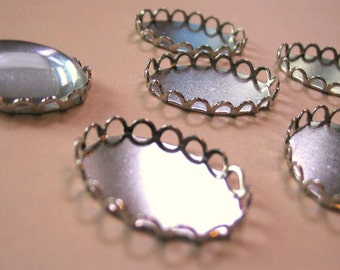 Silver Bezel Setting Lace Edge 18 x 13mm (6)