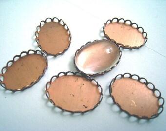 Antique Copper Bezel Settings Lace Edge 18x13mm (6)