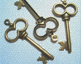 Brass Key Pendant - Gold finish - LARGE (24)
