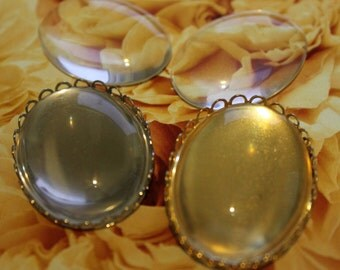 NEW... Clear Glass Cabochons 40mm x 30mm (6)