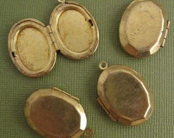 Vintage Brass Oval Lockets Faceted Edges (4)