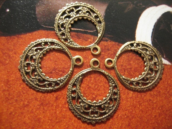 Dangle Earring Filigree Antique Brass (4)
