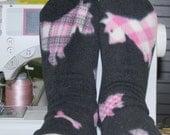 Fleece Socks Premium Fabric Black With Pink Plaid Scottie Dogs