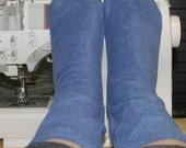Fleece Socks Anti Pill Fabric Chambray Blue