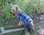 Dog Coat in Plaid Fleece with Embroidered Name and Crest Blue Brown Gold Custom Made
