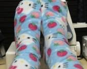Fleece Socks Hello Kitty  and Strawberries Blue Pink White Premium Fabric Ladies and Children Sizes